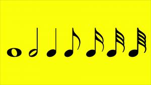 Figuras de Duración. De izq. a der.: Redonda, Blanca, Negra, Corchea, Semicorchea, Fusa y Semifusa.